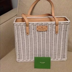 Kate Spade white wicker, leather trim purse